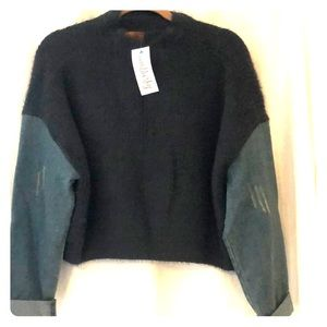 Gray mohair sweater with denim sleeves